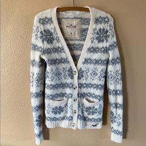 HOLLISTER Fair Isle Wool Cardigan Sweater Button